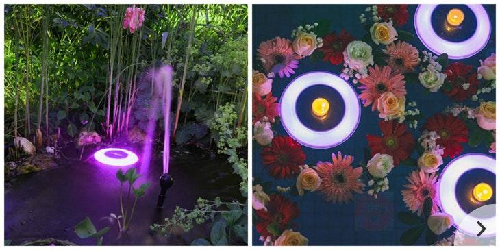Licht im Teich: mit Solar-LED-Leuchte