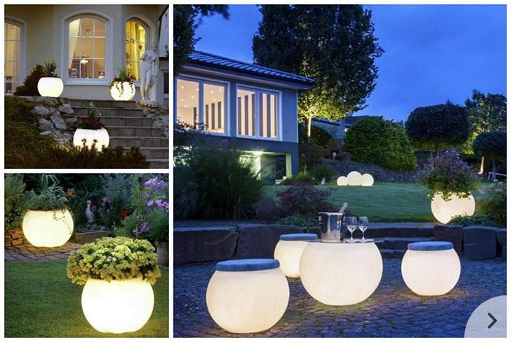 Licht im Garten mit LED-Pflanzengefäßen