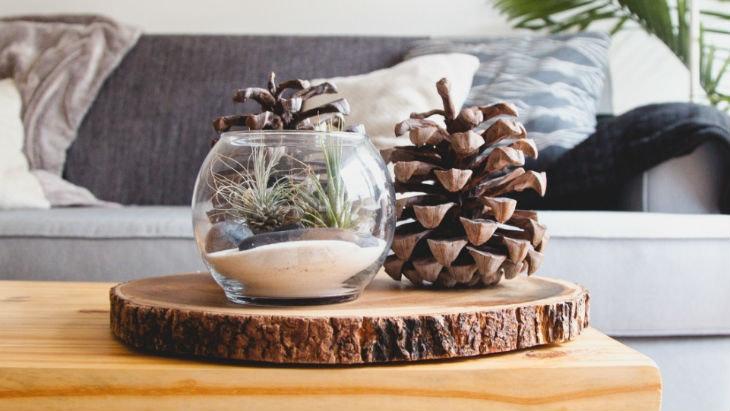 Wohnaccessoires aus Holz und Zapfen
